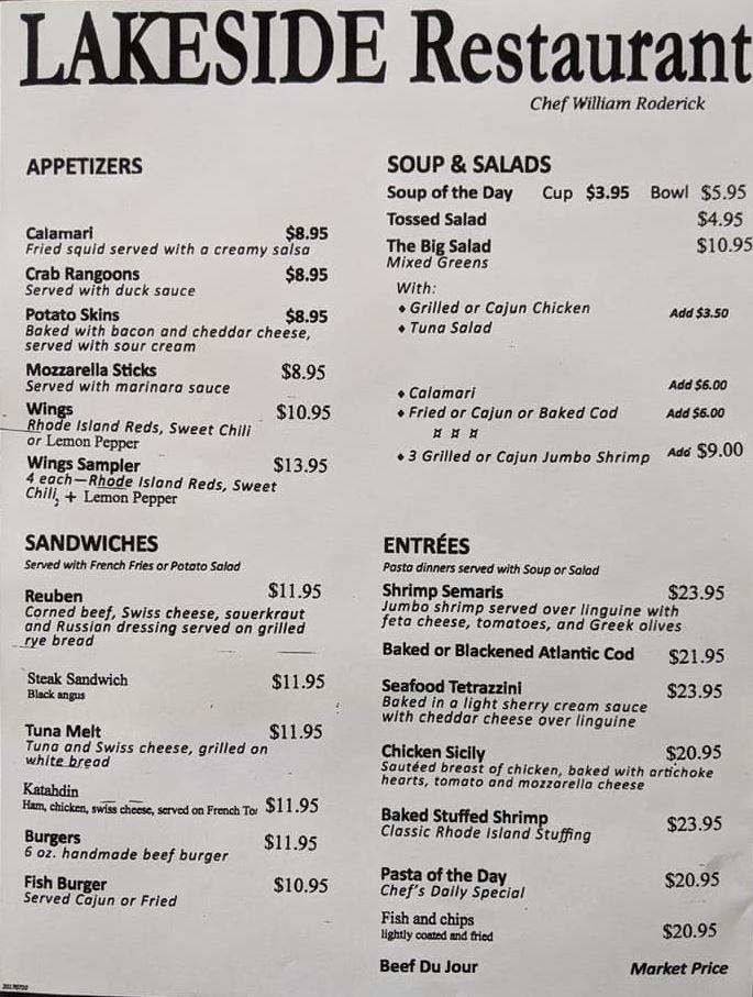 lakeside menu
